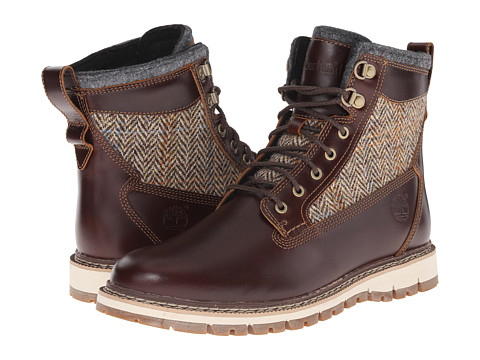 Timberland - Britton Hill 6 Warm Lined Leather and Fabric Boot (Brown Full Grain/Harris Tweed Wool Fabric) Men