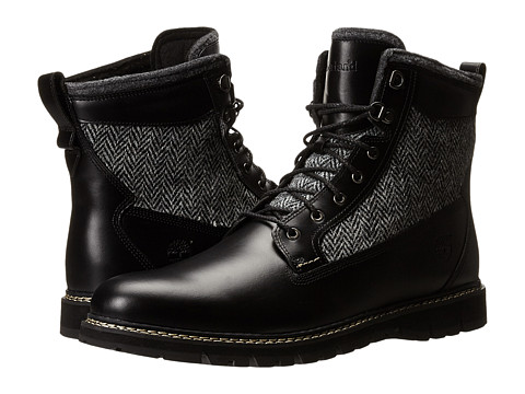 Timberland - Britton Hill 6 Warm Lined Leather and Fabric Boot (Black Box Leather/Harris Tweed Wool Fabric) Men