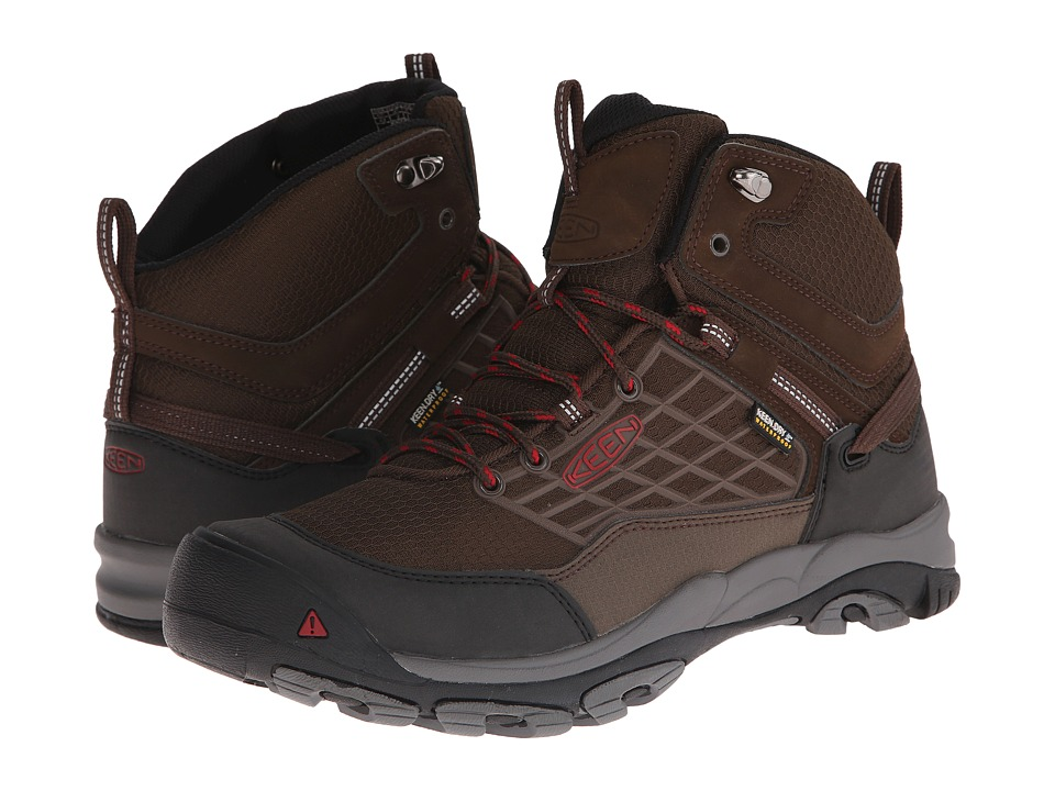 Keen - Saltzman WP Mid (Cascade Brown/Chili Pepper) Men's Waterproof Boots
