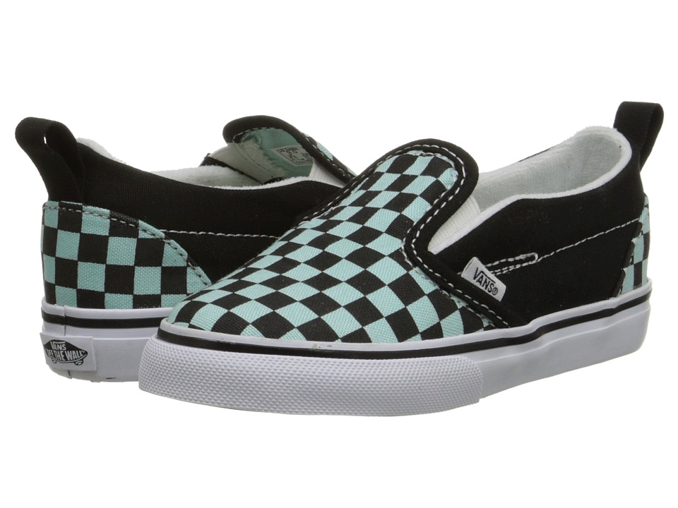 Vans Kids - Slip-On V (Toddler) ((Checkerboard) Black/Blue Tint) Girls Shoes