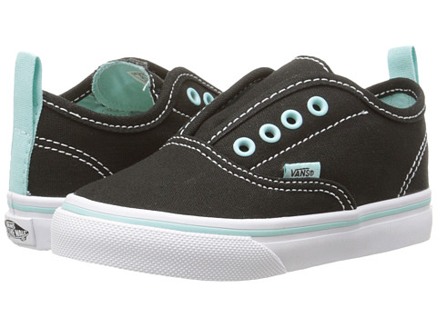 Vans Kids - Authentic V (Toddler) ((Pop) Black/Blue Tint) Girls Shoes