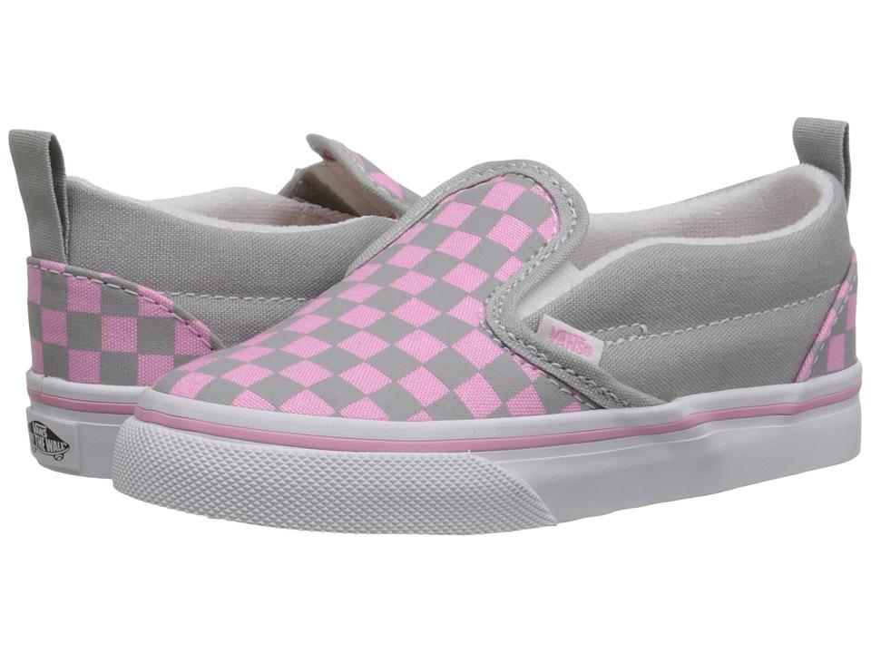 Vans Kids - Slip-On V (Toddler) ((Checkerboard) High-Rise/Prism Pink) Girls Shoes