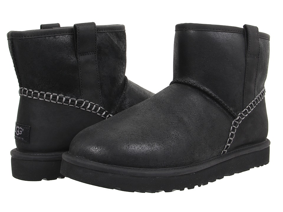 UGG - Classic Mini Stitch (Black Leather) Men's Pull-on Boots