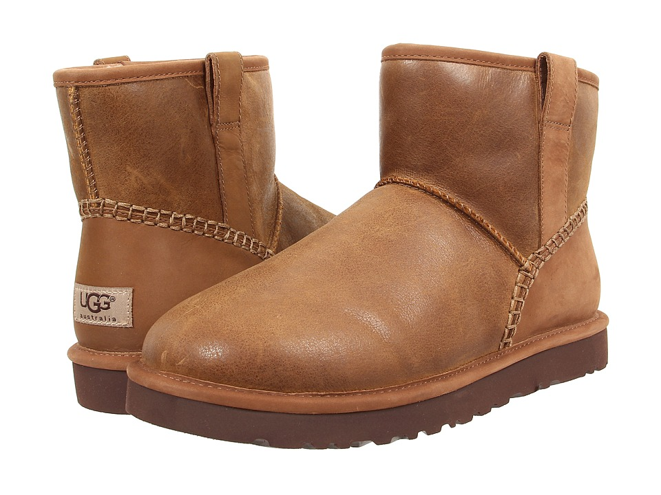 UGG - Classic Mini Stitch (Chestnut Leather) Men's Pull-on Boots