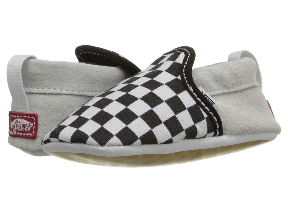 Vans Kids - Slip-On Crib (Infant/Toddler) (Black/True White Checkerboard) Kids Shoes