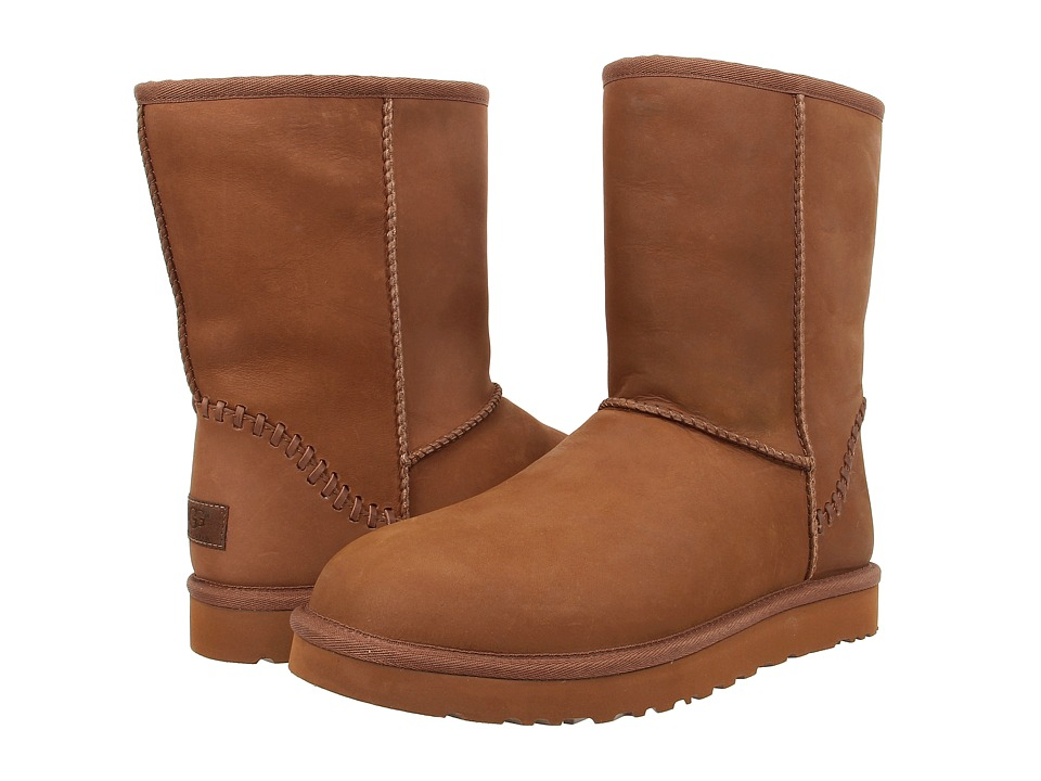 UGG Classic Short Deco Chestnut Leather Mens Pull-on Boots