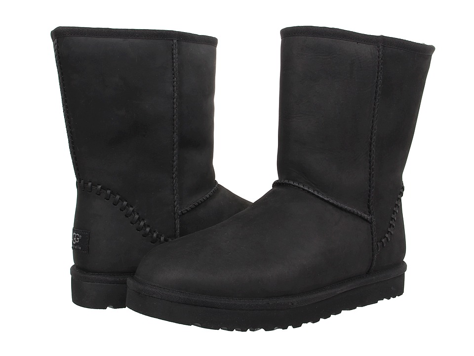 UGG - Classic Short Deco (Black Leather) Men's Pull-on Boots