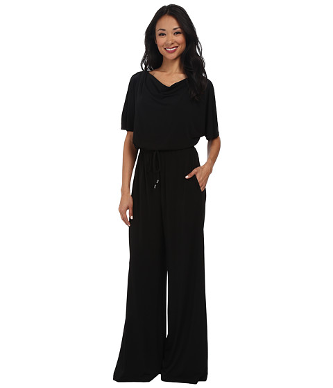 Vince Camuto - Jumpsuit w/ Cowl Neck and Drape Sleeve (Black) Women's Jumpsuit & Rompers One Piece
