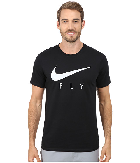 Nike - Swoosh Fly Tee (Black/White/Black) Men's Clothing
