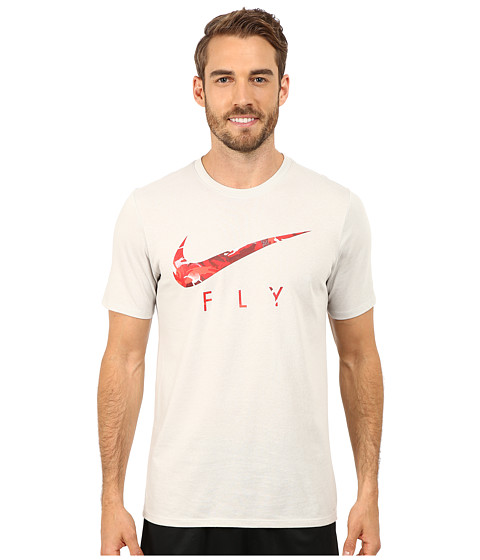 Nike - Swoosh Fly Tee (Night Silver/Bright Crimson/Night Silver) Men's Clothing