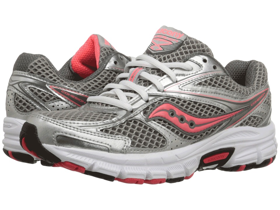 Saucony - Grid Cohesion 8 (Silver/Grey/Coral) Women's Shoes