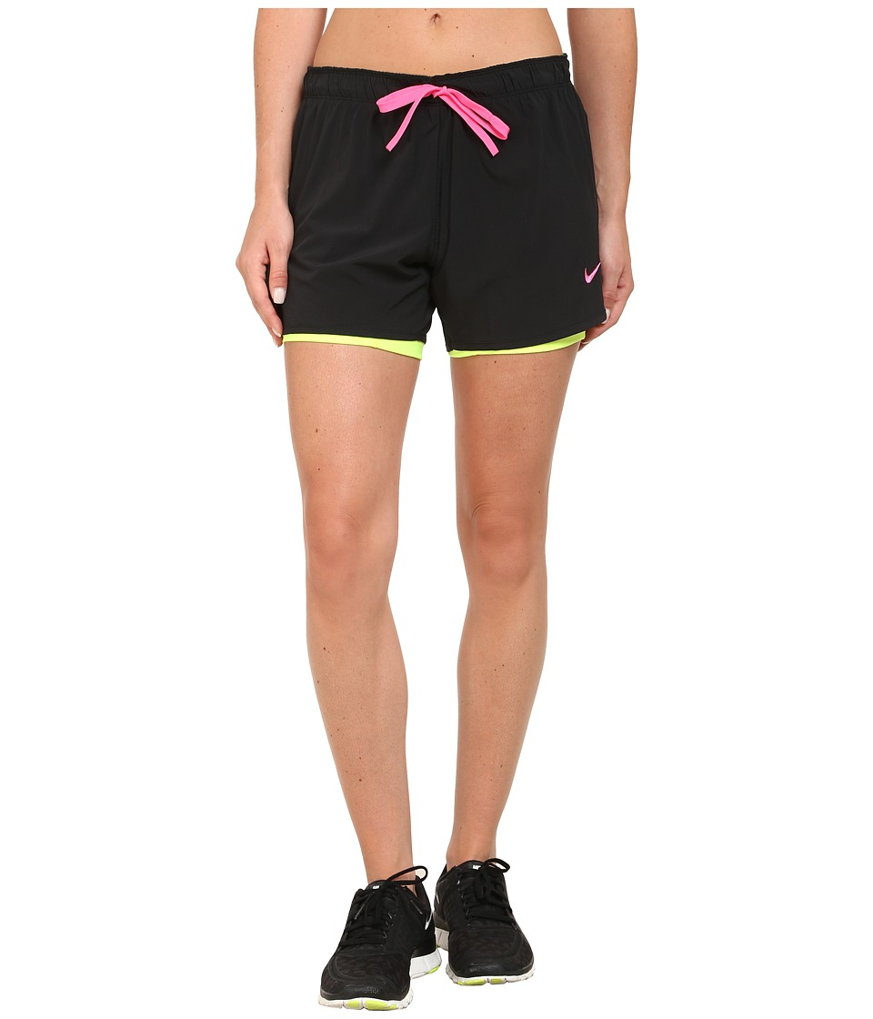 Nike - Dri-FITtm 2-n-1 Shorts (Black/Volt/Pink Pow/Pink Pow) Women's Shorts