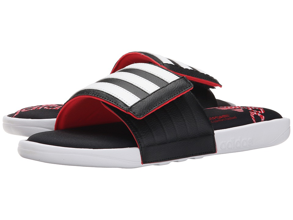 adidas - Adissage Comfort FF (White/Black/Vivid Red) Men's Slide Shoes