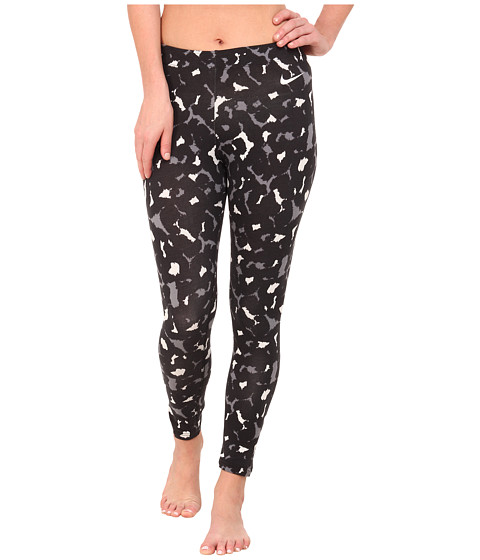 Nike - Club Leggings - Cropped AOP (Black/Summit White) Women's Casual Pants