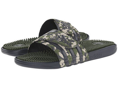 adidas - Adissage Graphic Marbled (Dark Grey/Base Green/Light Brown) Men's Sandals