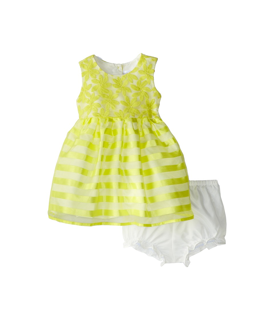 Us Angels - Cap Sleeve Embroidery Organza/Stripe (Toddler) (Yellow) Girl