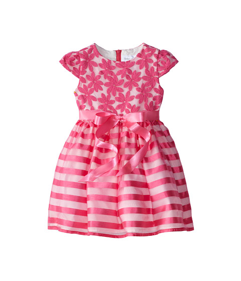 Us Angels - Cap Sleeve Embroidery Organza/Stripe (Little Kids) (Parfait) Girl's Dress