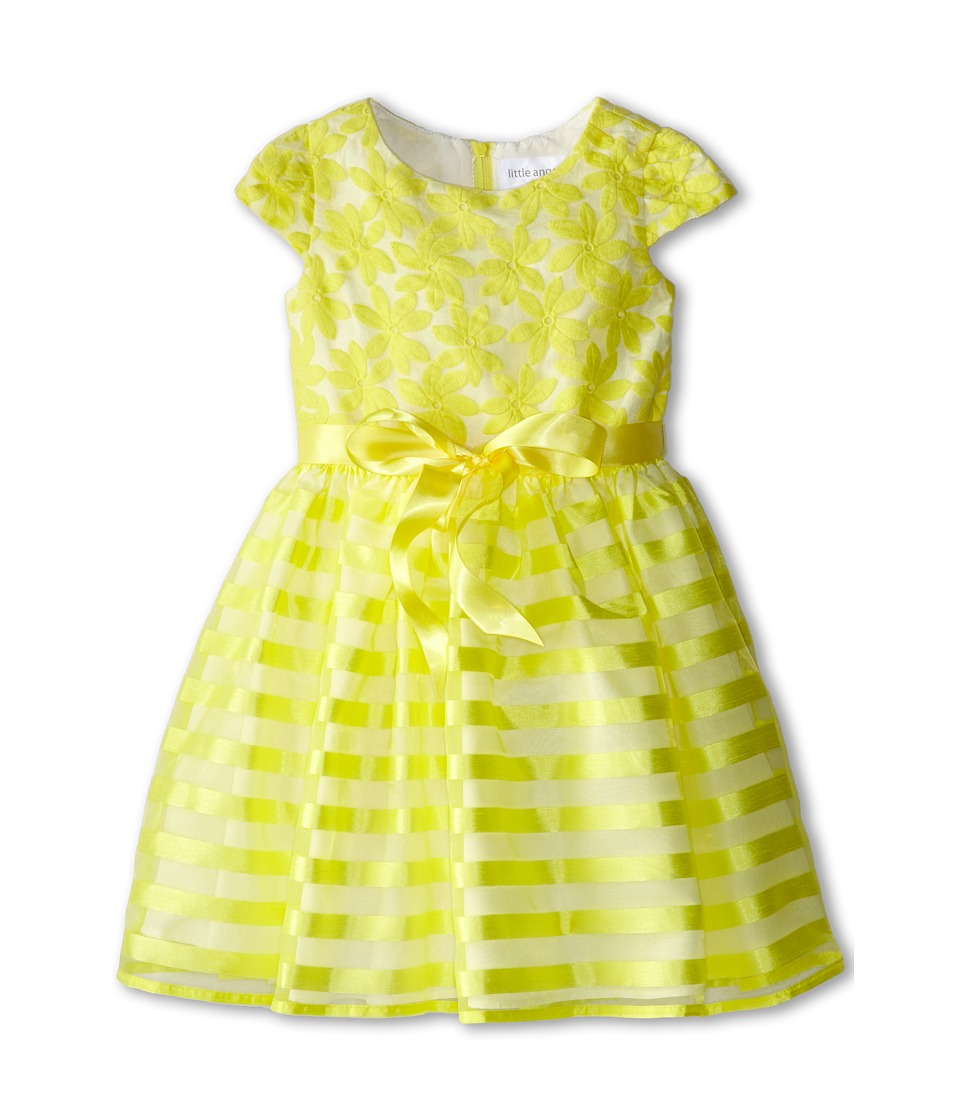 Us Angels - Cap Sleeve Embroidery Organza/Stripe (Little Kids) (Yellow) Girl