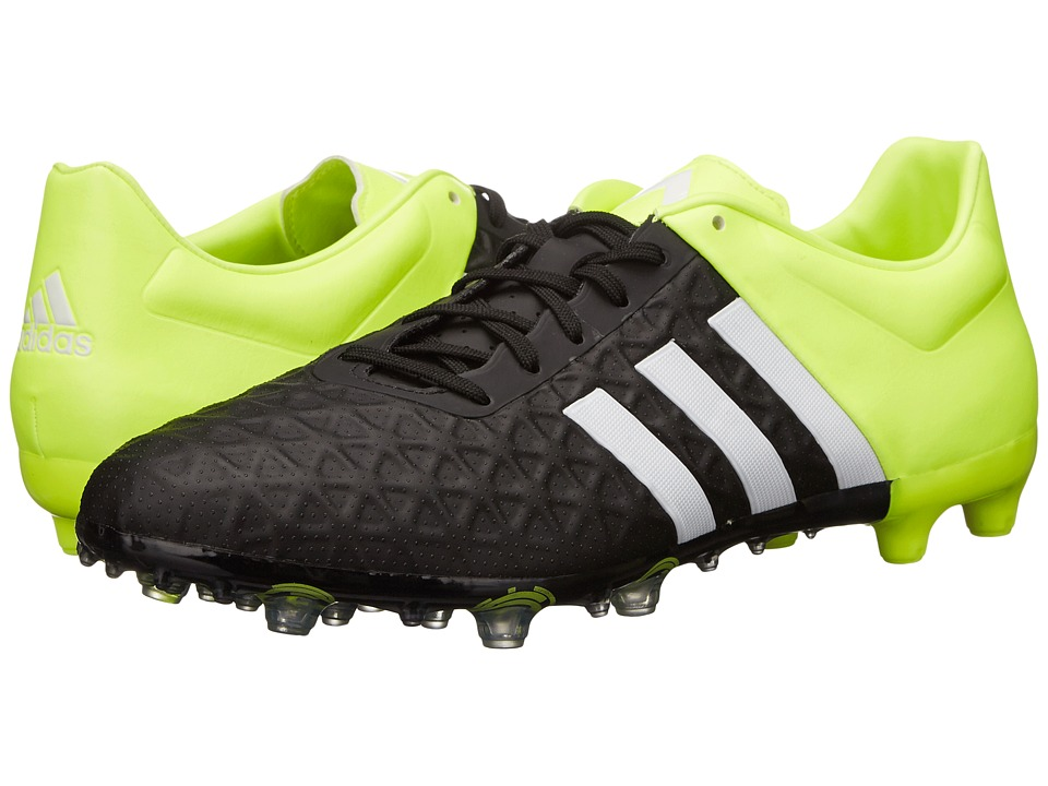adidas - Ace Mid FG/AG (Black/White/Solar Yellow) Men's Cleated Shoes