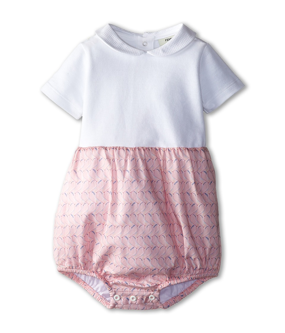 Fendi Kids - Short Sleeve Bubble Rompers w/ Printed Bottom (Infant) (Pink Bird) Girl's Jumpsuit & Rompers One Piece