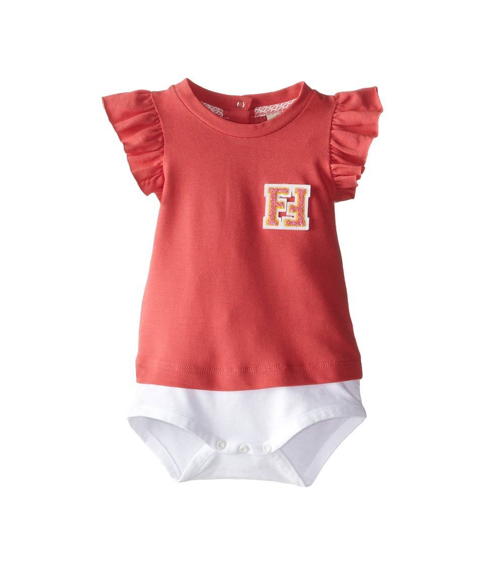 Fendi Kids - Ruffle Sleeve Body w/ Chest Logo (Infant) (Coral) Girl's Jumpsuit & Rompers One Piece