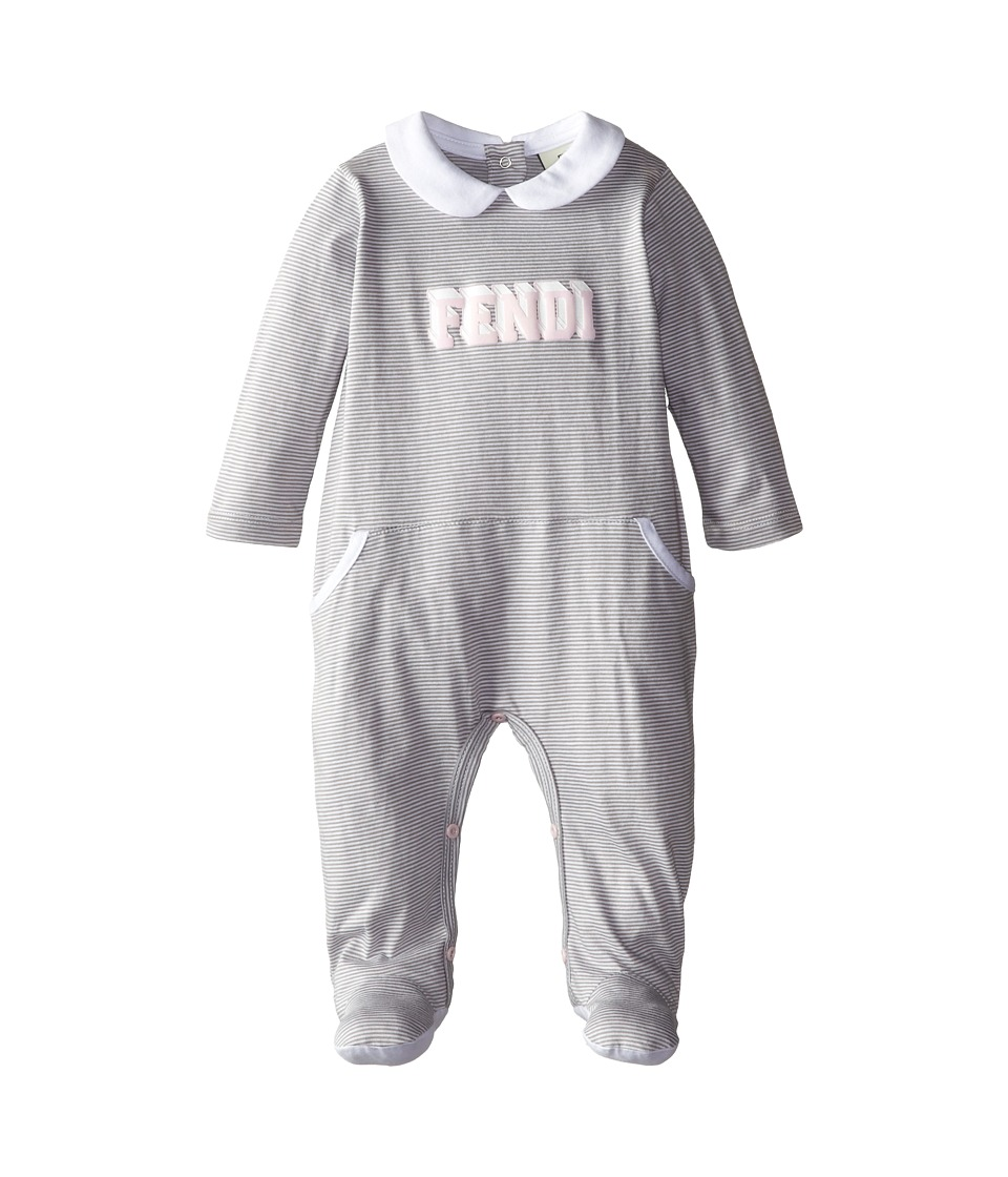 Fendi Kids - Striped Sfootie w/ Logo Stamp (Infant) (Grey) Girl's Jumpsuit & Rompers One Piece