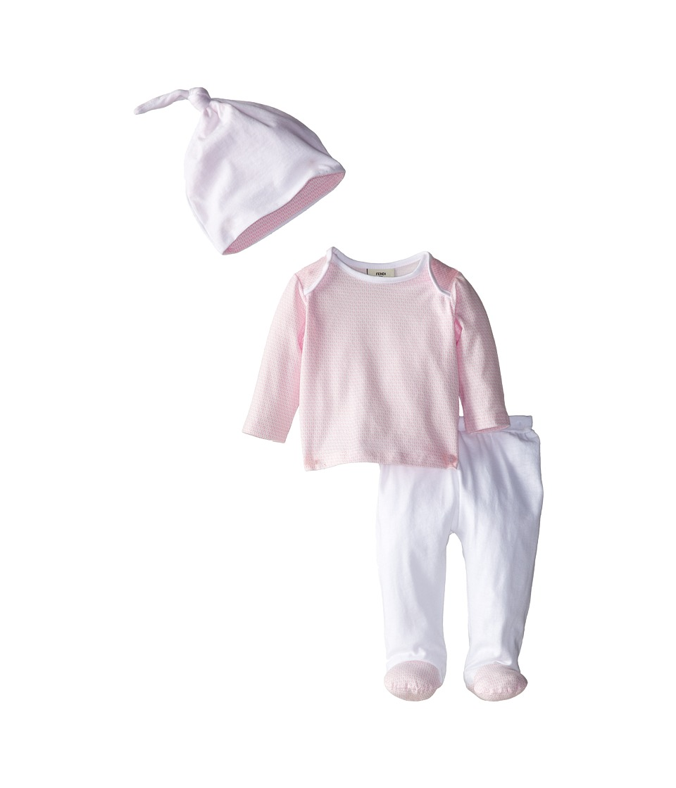Fendi Kids - Long Sleeve Top and Footed Pants + Hat Gift Set (Infant) (Pink) Girl's Active Sets