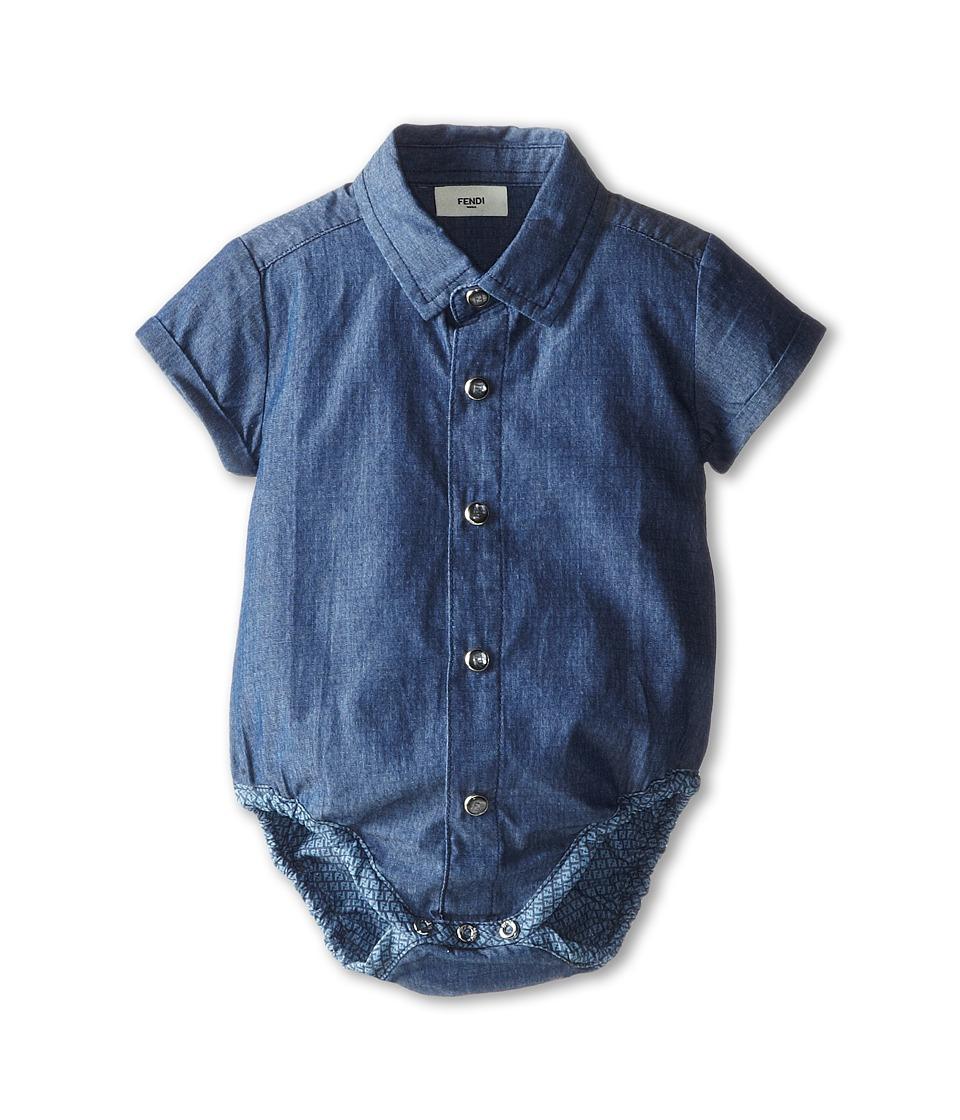 Fendi Kids - Short Sleeve Button Down One-Piece w/ Allover Logo (Infant) (Navy) Boy