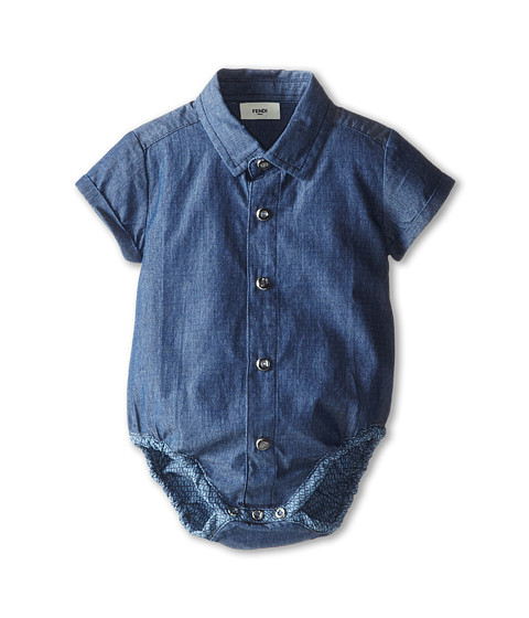 Fendi Kids - Short Sleeve Button Down One-Piece w/ Allover Logo (Infant) (Navy) Boy's Jumpsuit & Rompers One Piece