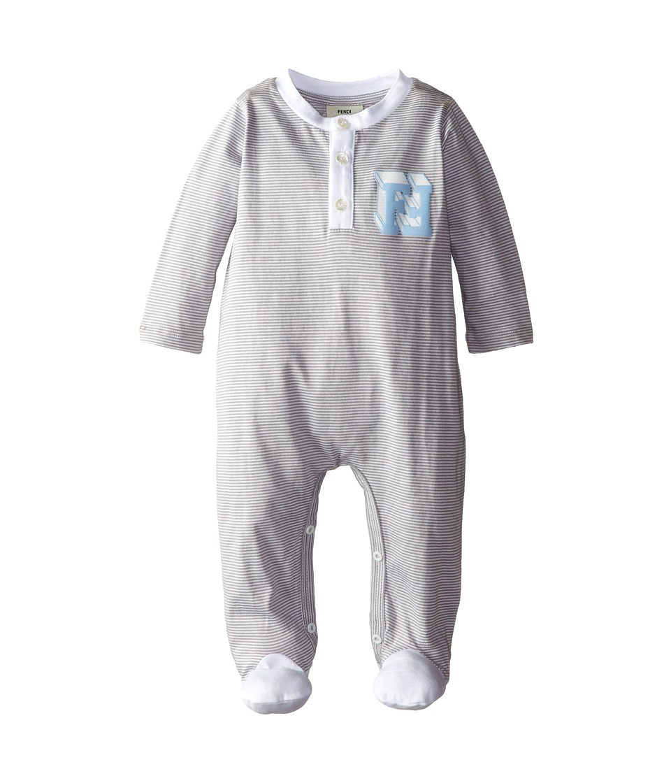 Fendi Kids - Striped Footie w/ Chest Logo (Infant) (Grey) Kid's Jumpsuit & Rompers One Piece