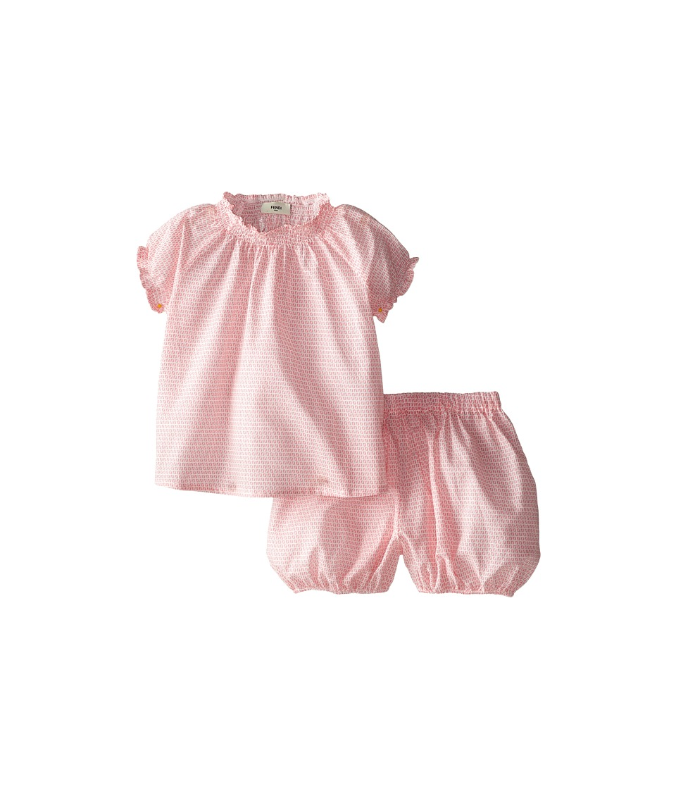 Fendi Kids - Two-Piece Top and Bubble Shorts (Infant) (Coral) Girl