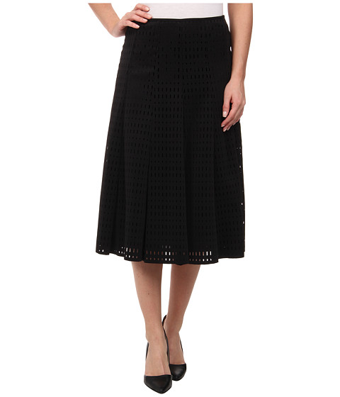 Calvin Klein - Perforated Scuba Midi Skirt (Black) Women
