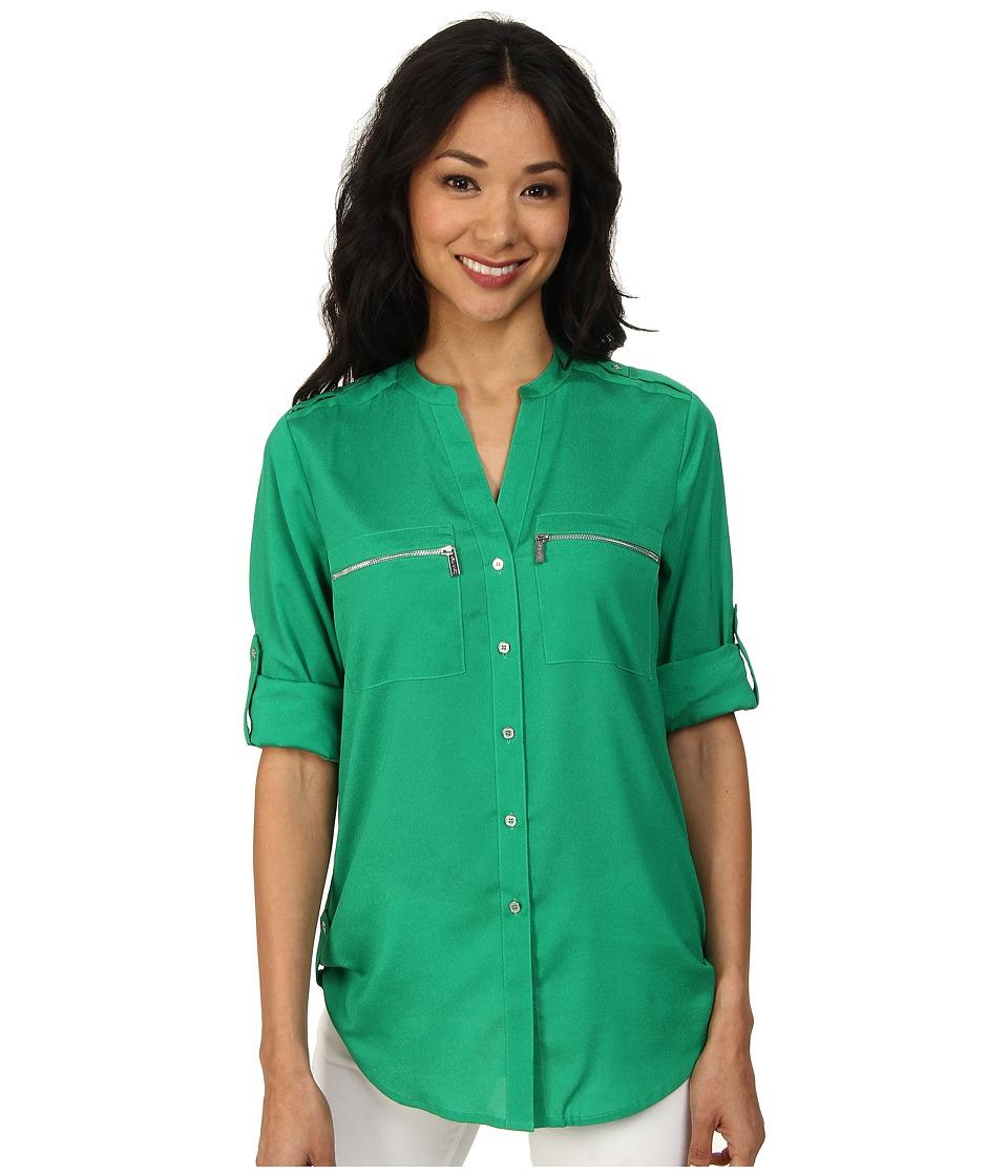 Calvin Klein - Zipper Roll Poly CDC Sleeve (Grass) Women's Blouse