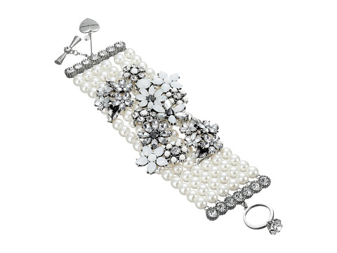 Betsey Johnson - Something New Pearl Toggle Bracelet (Crystal/Silver Ox Plate) Bracelet