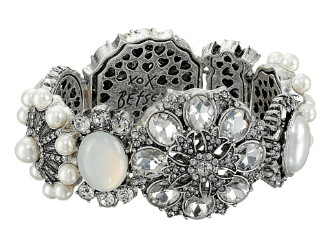 Betsey Johnson - Something New Rhinestone Stretch Bracelet (Crystal/Silver Ox Plate) Bracelet