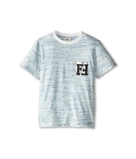 Fendi Kids - Short Sleeve Tee w/ Chest Block Logo Detail (Big Kids) (Blue) Boy