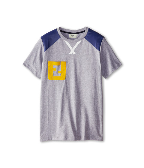 Fendi Kids - Short Sleeve Color Block Tee w/ Chest Logo (Big Kids) (Grey) Boy