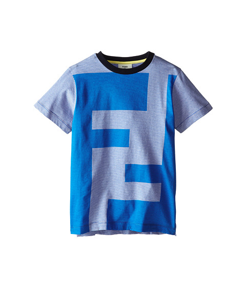 Fendi Kids - Short Sleeve Striped Tee w/ Versized Logo (Big Kids) (Blue) Boy