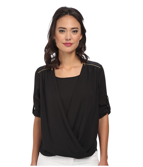 Calvin Klein - V-Neck Drape Roll Sleeve (Black) Women's Blouse