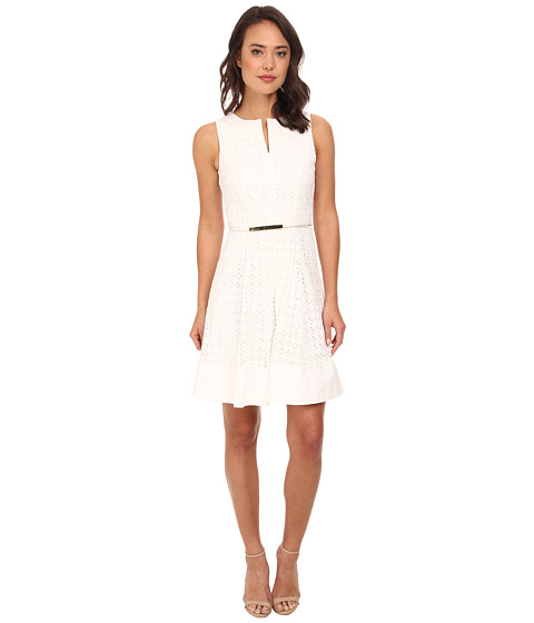 Calvin Klein - Geo Eyelet Dress (Soft White) Women's Dress