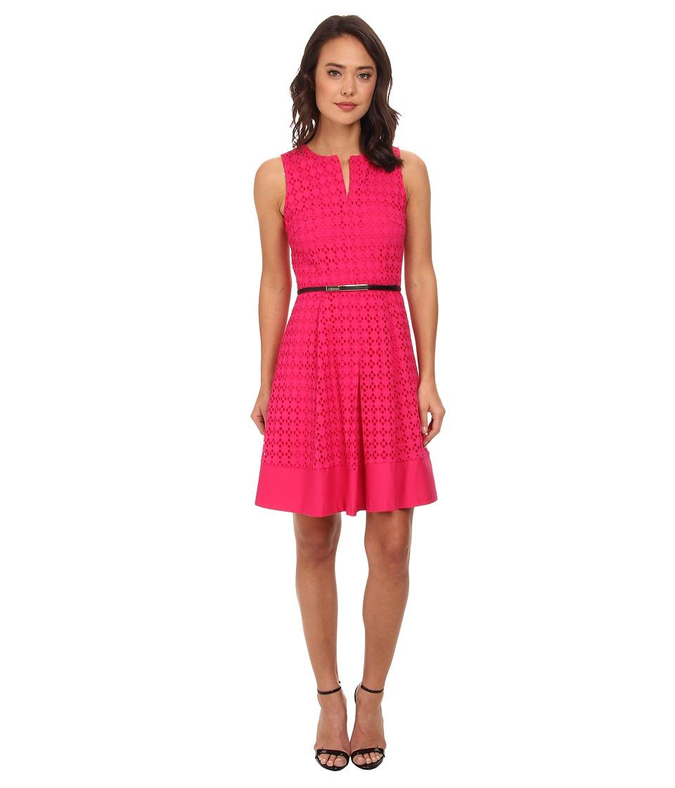 Calvin Klein - Geo Eyelet Dress (Hibiscus) Women's Dress