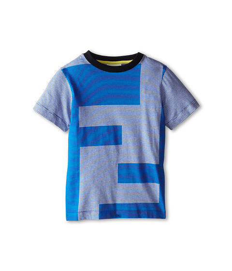 Fendi Kids - Short Sleeve Striped Tee w/ Versized Logo (Little Kids) (Blue) Boy's Short Sleeve Pullover