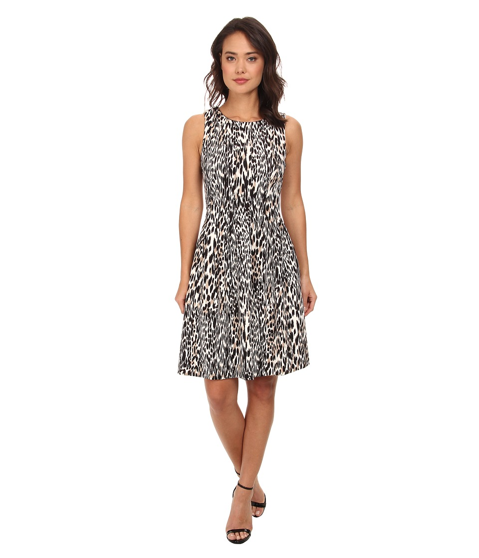 Calvin Klein Printed Fit Flare Scuba Dress (Neutral Multi) Women