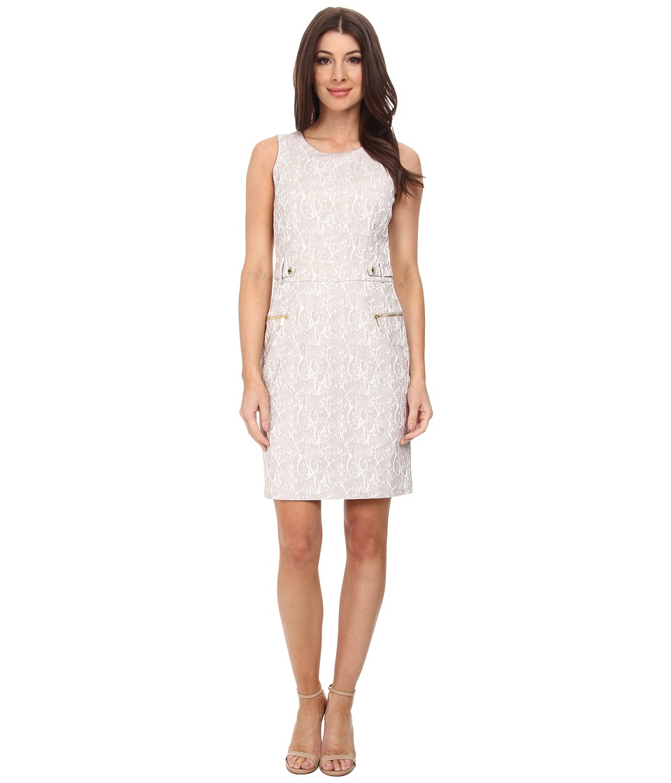 Calvin Klein - Jaquard Dress w/ Snaps (Animal Jacquard) Women's Dress