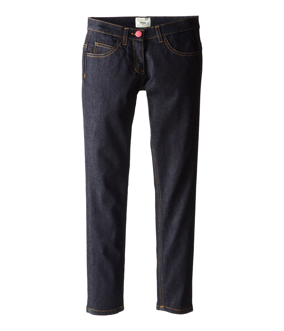 Fendi Kids - Denim Pants w/ Fendi Logo On Back (Little Kids) (Denim) Girl's Casual Pants