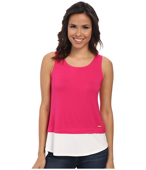 Calvin Klein - Sleeveless Double Layer Top (Hibiscus) Women's Sleeveless