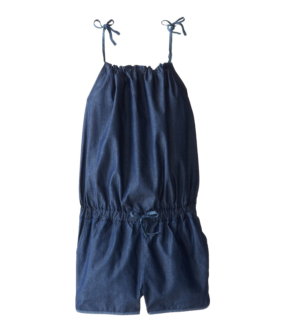 Fendi Kids - Chambray Logo Print Rompers (Little Kids) (Denim) Girl's Jumpsuit & Rompers One Piece