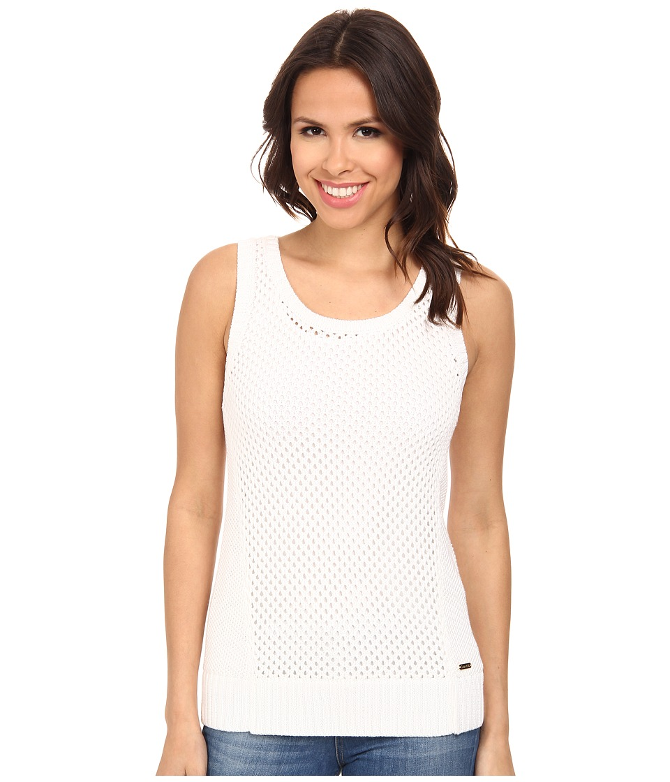 Calvin Klein - Sleeveless Openstitch Sweater (Soft White) Women's Sweater