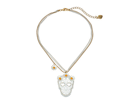 Betsey Johnson - Flower Child Necklace Daisy Skull (White Multi) Necklace