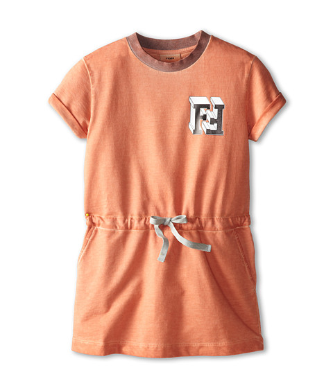 Fendi Kids - Short Sleeve Dress w/ Chest Logo (Little Kids) (Peach) Girl's Dress